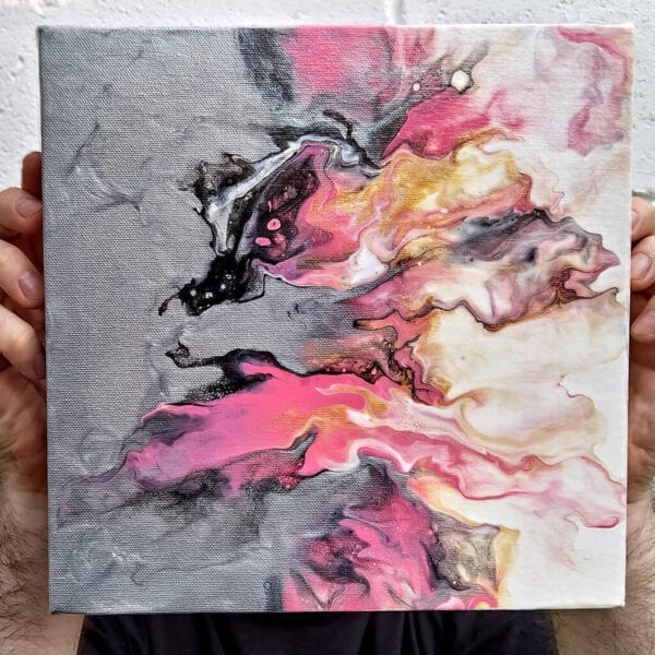 Vibrant Cosmopolitan 10x10 Acrylic Fluid Painting by Adrian Reynolds
