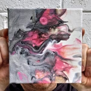 Vibrant Cosmopolitan 6x6 Acrylic Fluid Painting by Adrian Reynolds